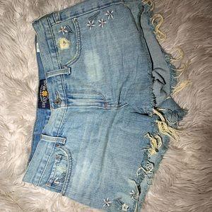 Flower pattern jean cut off shorts